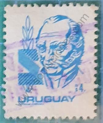 Sello N$4 Artigas - Uruguay 1982