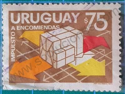 Sello Entrega de paquetes $75 - Uruguay 1974