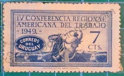 Gaucho montado a Caballo - Sello Uruguay 1949 7c
