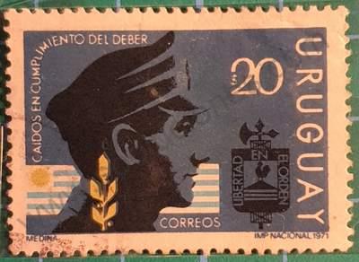 Sello Caídos en el cumplimiento del deber - Uruguay 1971