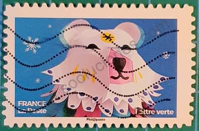 Cabeza de oso polar - Sello Francia 2019 Lettre verte