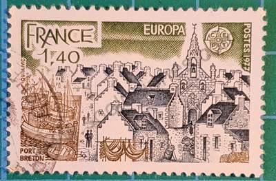 Puerto Bretón - Sello Francia 1977 1,40F