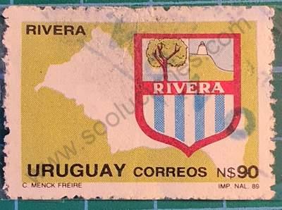 Mapa y escudo de Rivera - Sello de Uruguay 1990