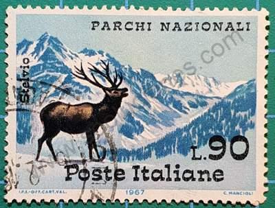Ciervo y Montañas Ortler - Sello Italia 1967