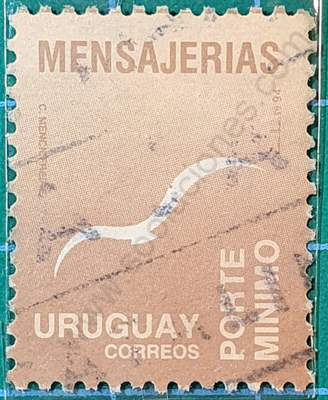 Sello Mensajerías Uruguay 1994 Gaviota marrón