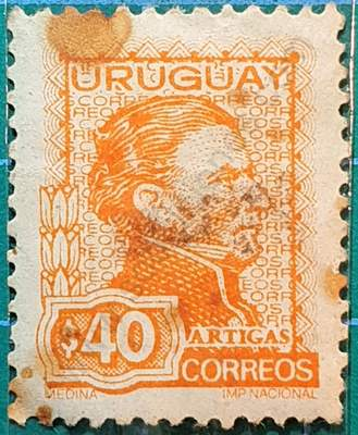General Artigas $40 Sello Uruguay 1973