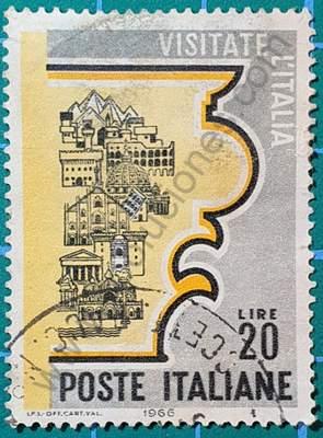 Monumentos dentro de Capitel - Sello Italia 1966