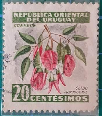 Flor de Ceibo 20c - Sello Uruguay 1954