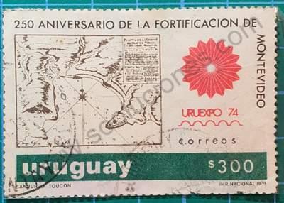 Mapa fortificación de Montevideo - sello Uruguay 1974