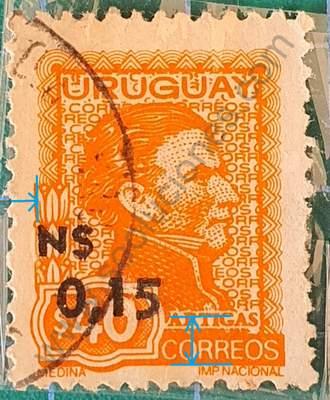 General Artigas Sello Uruguay 1975 N$ 0,15