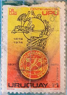 Centenario U.P.U. sello Uruguay 1975