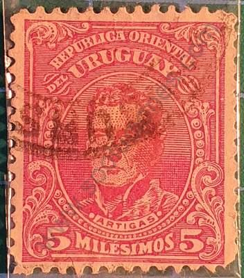 Artigas 5m 1913 - Sello Uruguay