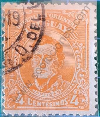 Busto de Artigas 4c - Sello Uruguay 1915