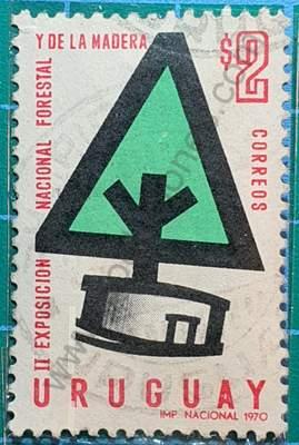 Árbol estilizado $2 - Sello de Uruguay 1970