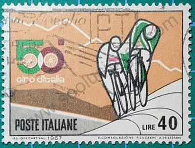 Ciclistas cuesta arriba Lire 40 - Sello Italia 1967