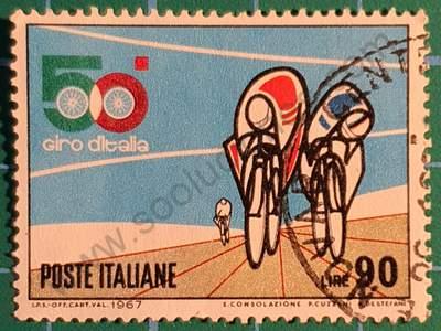 Ciclistas en Sprint - Sello Italia 1967 - 90L