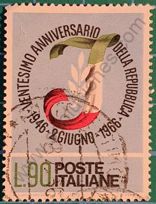 20 años de la República Italiana - Sello 90L 1966