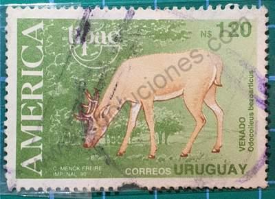Venado N$150 - Sello Uruguay 1990