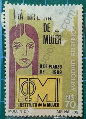 Cabeza de mujer y logo - Sello Uruguay 1955