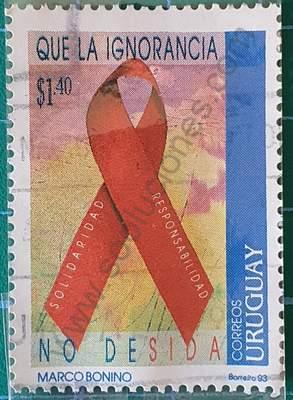 Día mundial del SIDA - Sello Uruguay 1993