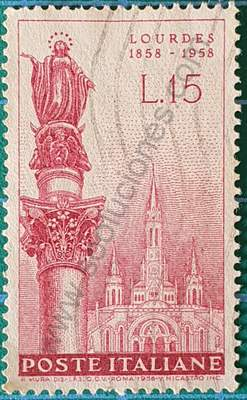 Virgen de Lourdes - Sello Italia 1958