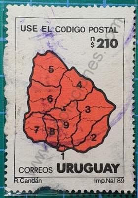 Mapa de Uruguay y Códigos postales - sello de 1989