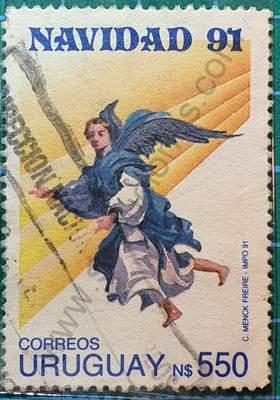 Ángel y rayo de sol - Sello Uruguay 1991