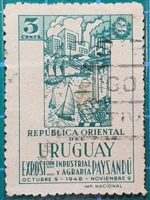 Fábricas y veleros - sello Uruguay 1948