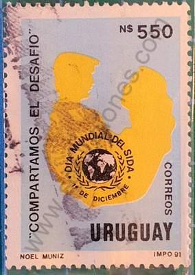 Silueta de pareja y emblema - Sello Uruguay 1991