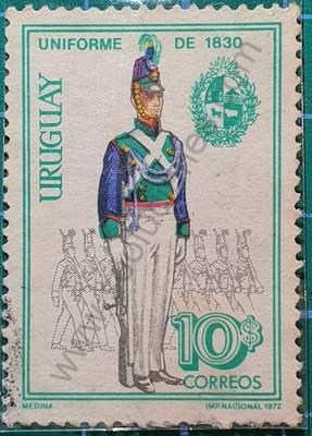 Uniforme militar 1830 - Sello Uruguay 1972