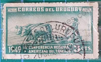 Arando con bueyes - Sello Uruguay 1949