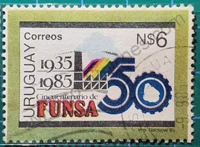 Fábrica y número 50 - sello Uruguay 1985