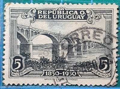 Puente sobre el Río Negro - Sello Uruguay 1930