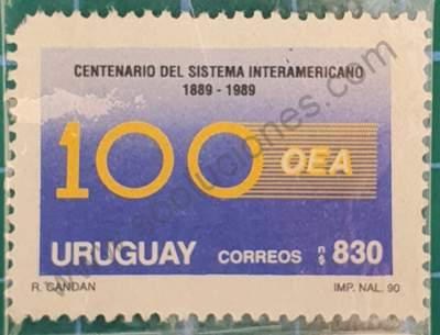 OEA centenario - Sello Uruguay 1991