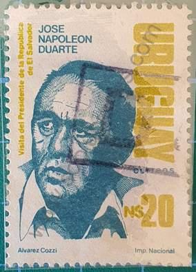 José Napoleón Duarte - Sello Uruguay 1988