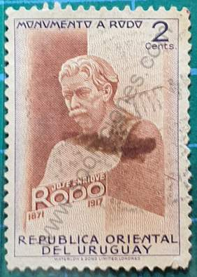Busto José Enrique Rodó - Sello Uruguay 1948