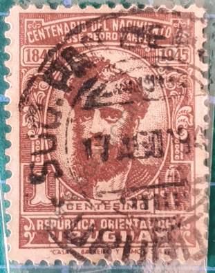 José P. Varela 1c - Sello Uruguay 1945