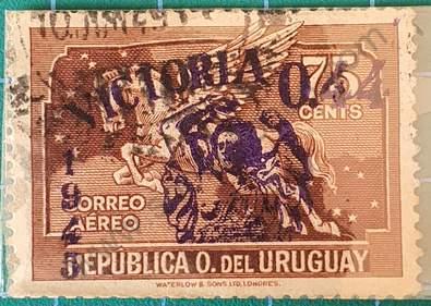 Pegaso sobre marcado - Sello Uruguay 1945