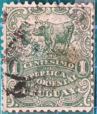 Toros y vacas - Sello Uruguay de 1904