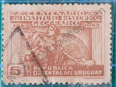 Sello con la musa Clío - Uruguay 1943