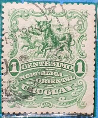 Sello con toros 1c - Uruguay año 1900