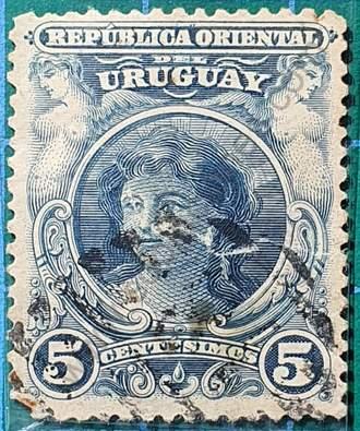 Sello cabeza de niña 5c - Uruguay año 1900