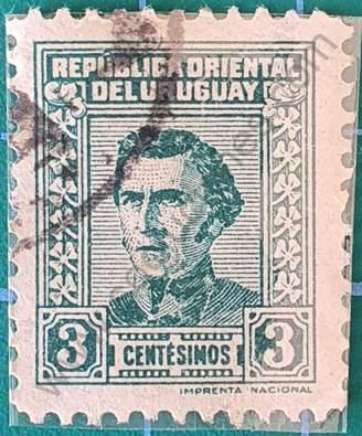 Busto de Artigas 3c Verde - Sello Uruguay 1948