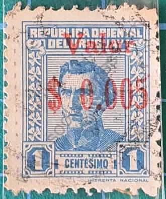 Busto de Artigas sobre impreso - sello Uruguay 1943