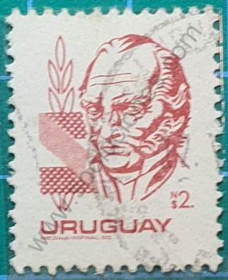 Sello Artigas N$2 - Uruguay 1980