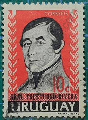 Sello Fructuoso Rivera 10c - Uruguay año 1962