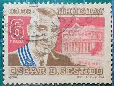 Sello Oscar D Gestido - Uruguay año 1968