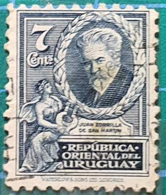 Sello J Zorrilla de San Martín - Uruguay año 1933