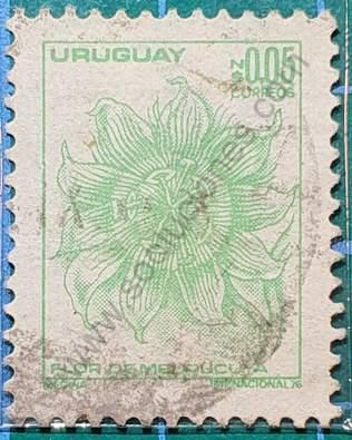 Sello Flor de Mburucuyá - Uruguay 1976
