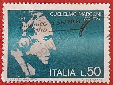 Sello Guillermo Marconi L50 - Italia año 1974